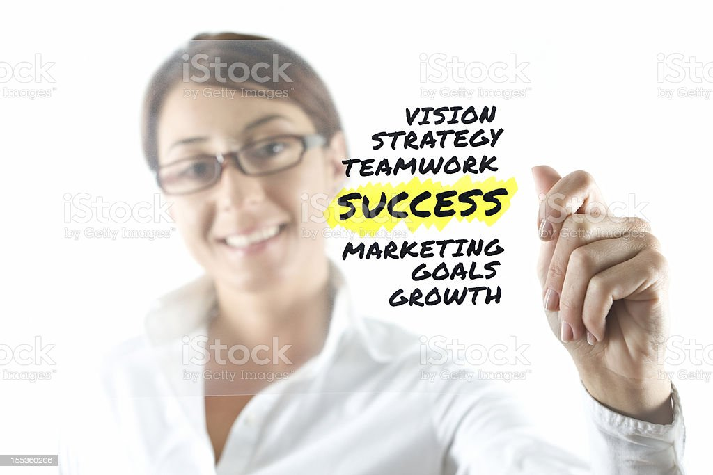 Businesswoman and transparency sheet stock photo
