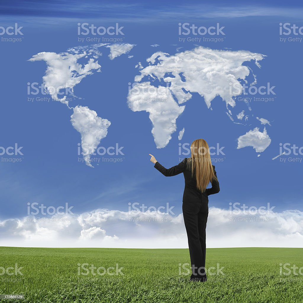 Businesswoman And World Map royalty-free stock photo