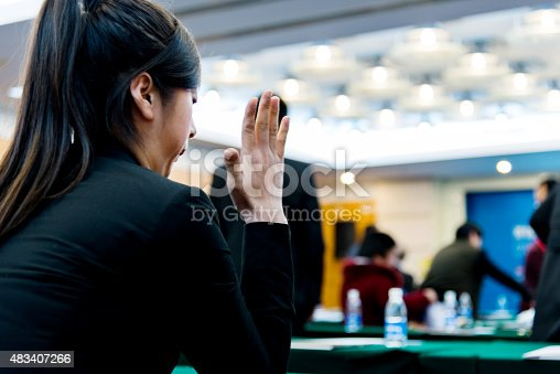 istock Businesswoman asking a question 483407266