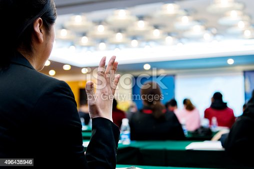 istock Businesswoman asking a question 496438946