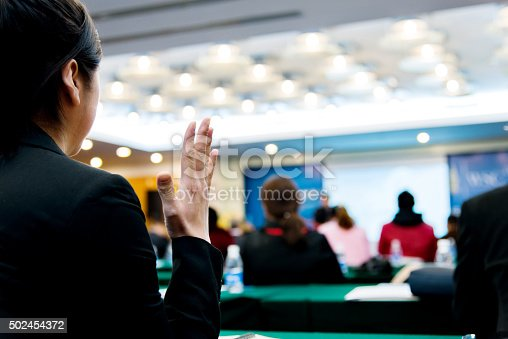 istock Businesswoman asking a question 502454372