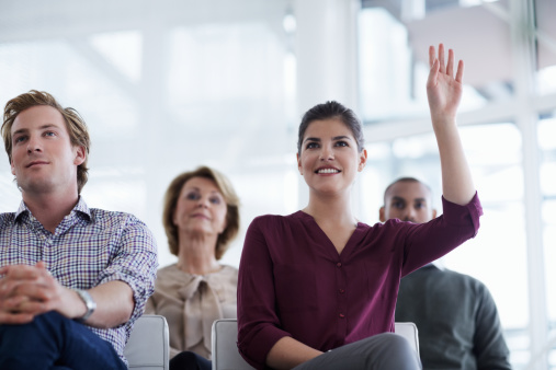 istock Businesswoman asking question 498323417