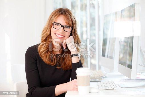 istock Businesswoman at coffee break 529658662