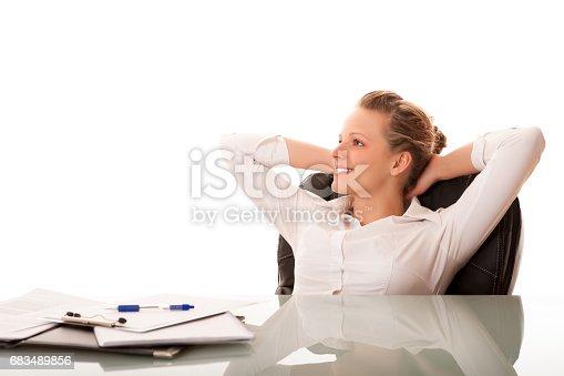 istock Businesswoman at desk 683489856
