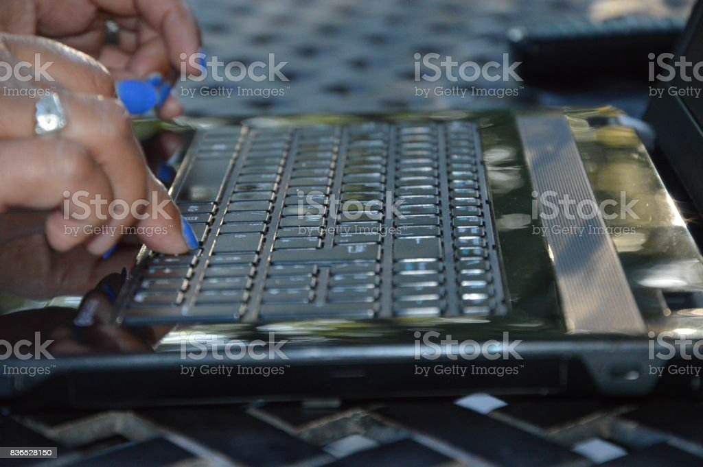 A businesswoman at her laptop stock photo