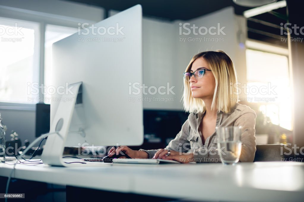 Businesswoman at office stock photo