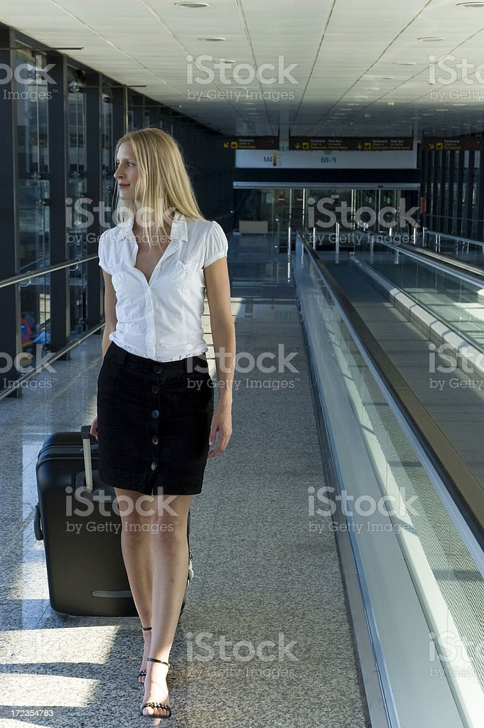 Businesswoman at the airport royalty-free stock photo