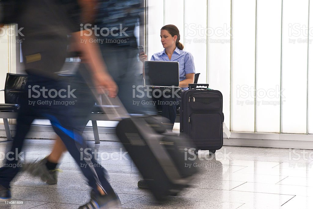 Businesswoman at the Airport stock photo