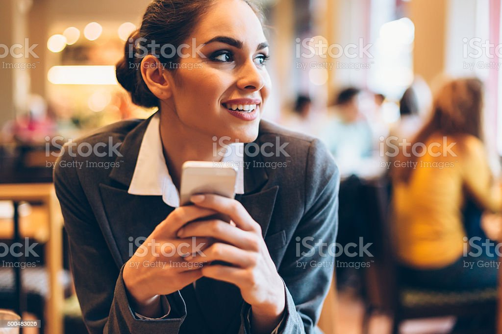 Businesswoman At The Cafe stock photo