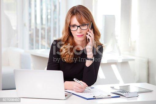 istock Businesswoman at work 527058452