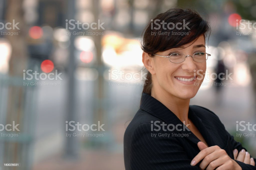 Businesswoman Banker Lawyer on Financial District Street Businesswoman Banker Lawyer on Financial District Street  Adult Stock Photo