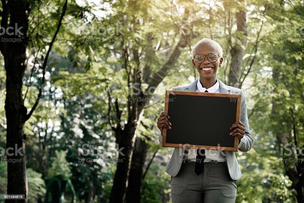 Businesswoman Blank Placard Standing Strategy Concept photo libre de droits