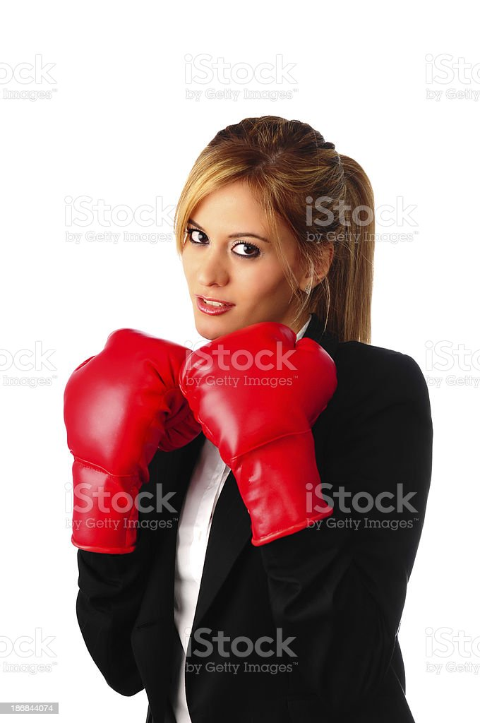 Businesswoman Boxing royalty-free stock photo