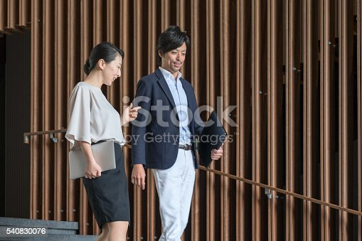 905689676 istock photo Businesswoman, Businessman Having Conversation While Holding Laptop, Office Lobby 540830076
