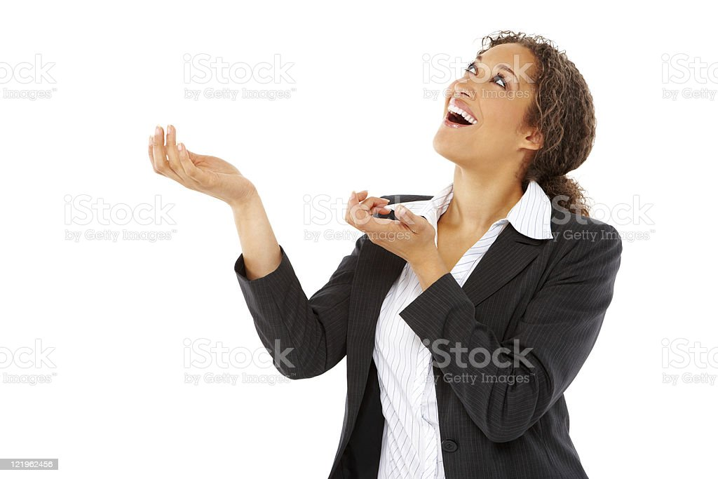 Businesswoman Catching Something From the Sky - Isolated royalty-free stock photo