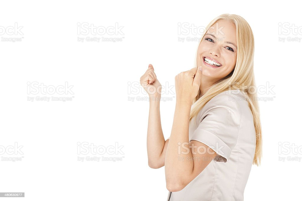 Businesswoman celebrating success royalty-free stock photo