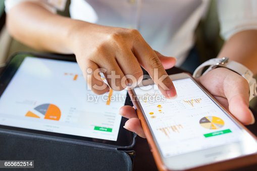 istock Businesswoman check data in smartphone and tablet 655652514