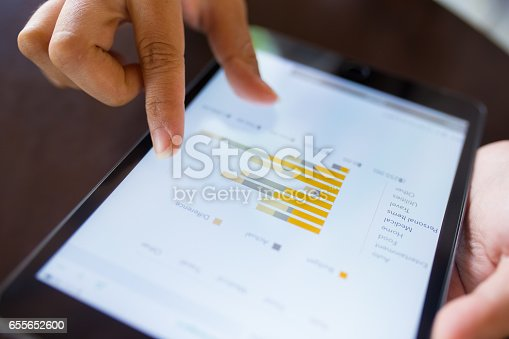 istock Businesswoman check data in tablet 655652600