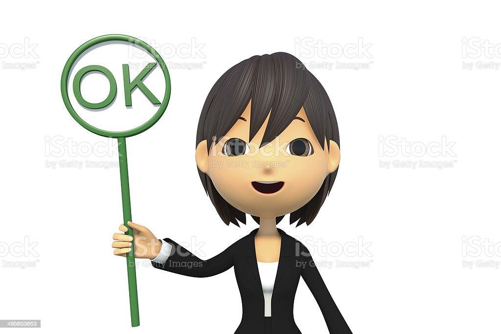 Businesswoman choose the OK royalty-free stock photo