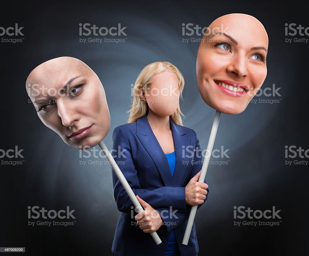 Businesswoman choosing humor stock photo