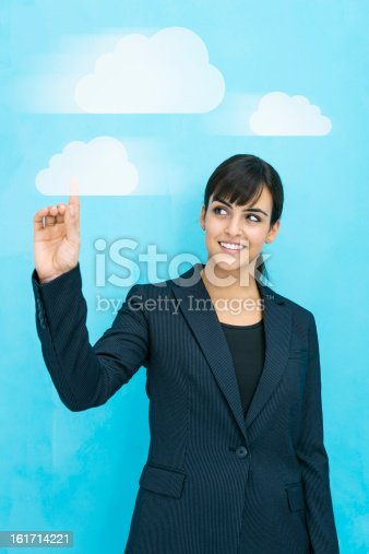 istock Businesswoman cloud computing 161714221