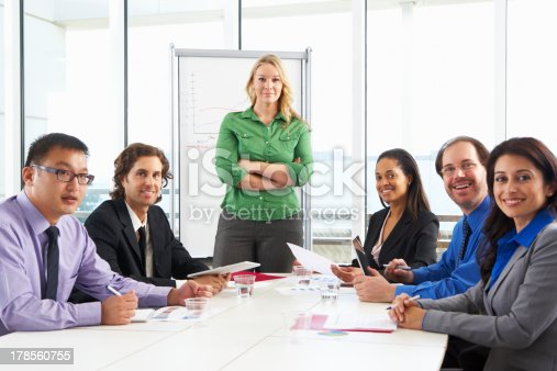 istock Businesswoman Conducting Meeting In Boardroom 178560755