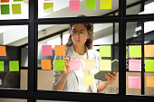 Businesswoman creates priority to-do list standing behind glass wall writes fresh ideas interesting creative thoughts on multicolored post-it sticky notes using tablet having fruitful workday concept