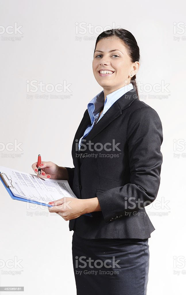 Businesswoman dealing with project goal for successful startup kick-off stock photo