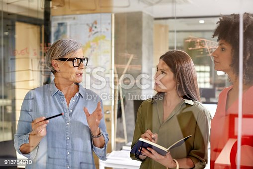 Senior businesswoman discussing with colleagues at glass wall. Female professionals are working in office. They are wearing smart casuals.