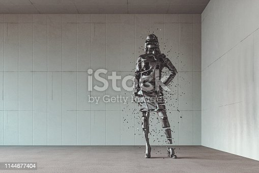 Businesswoman disintegrating in the modern concrete office. This is entirely 3D generated image.
