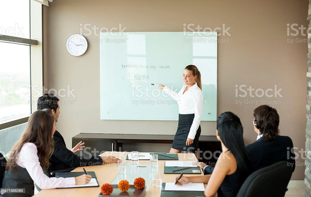 Businesswoman doing a presentation royalty-free stock photo