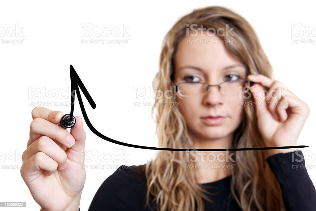 Businesswoman drawing a chart royalty-free stock photo