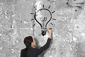 istock Businesswoman drawing a lightbulb on the wall creatively 468340818