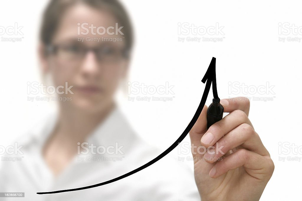businesswoman drawing graph - Royalty-free Adult Stock Photo