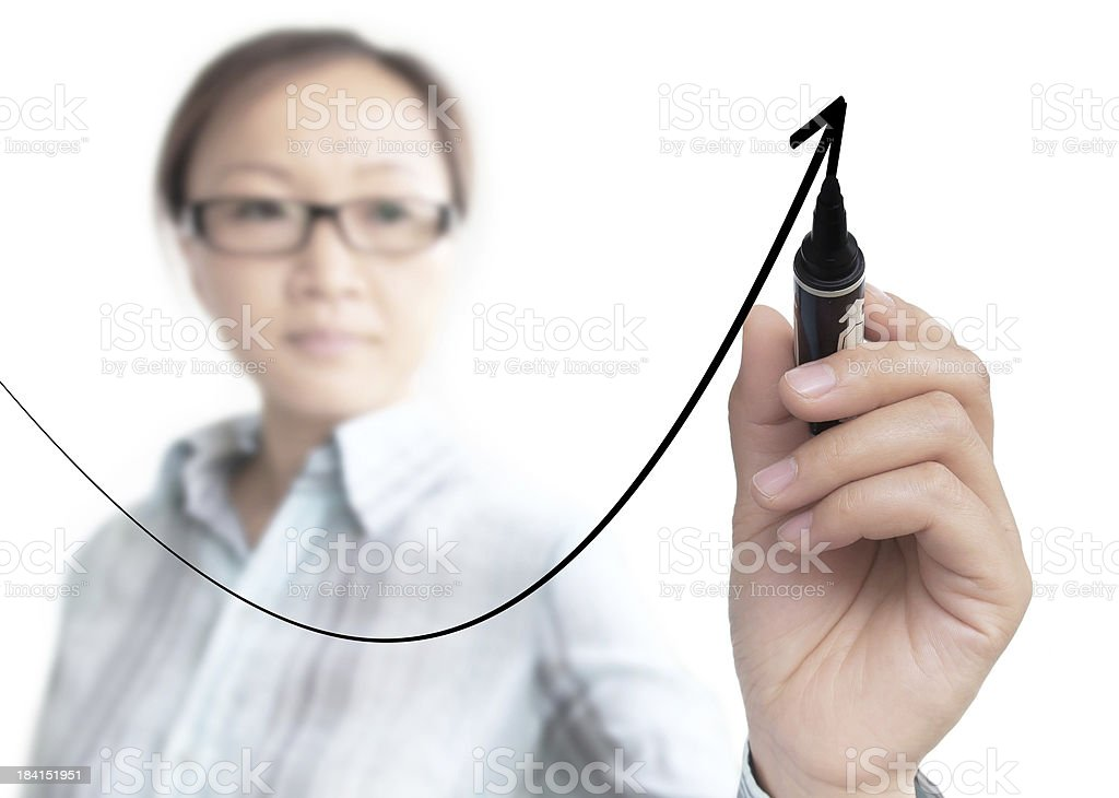 businesswoman drawing graph royalty-free stock photo