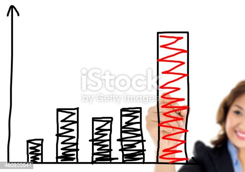 istock businesswoman drawing graph 480920541