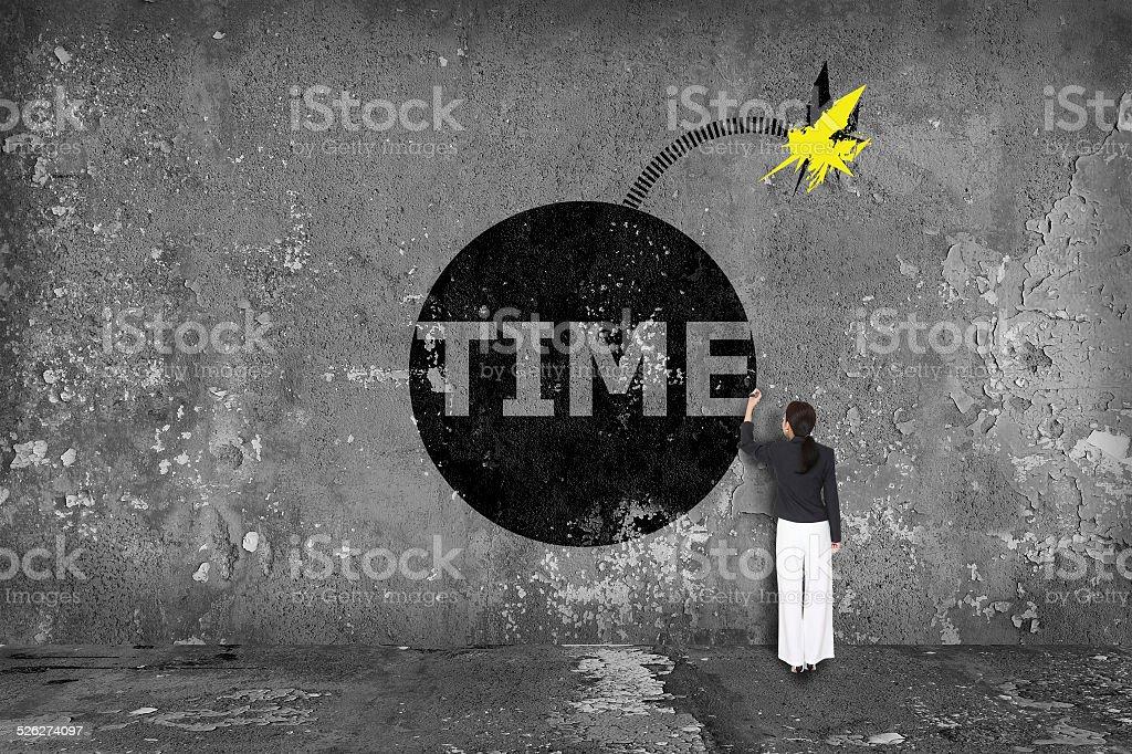 Empresária desenho Granada tempo na parede - foto de acervo