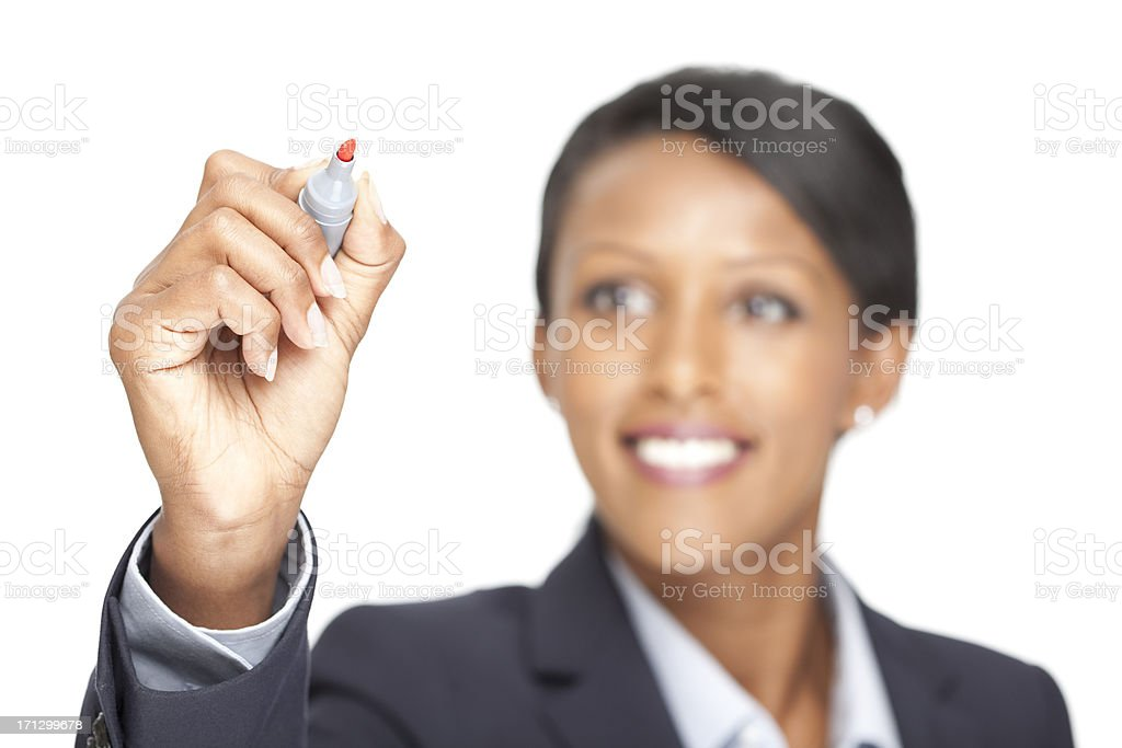 Businesswoman drawing on a virtual white board stock photo