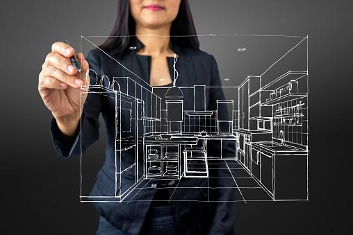 istock Businesswoman (Architect / Interior designer) drawing on modern futuristic virtual screen 917515874