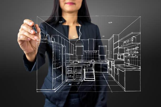 zakenvrouw (architect / interieur ontwerper) puttend uit moderne futuristische virtueel scherm - interior design stockfoto's en -beelden