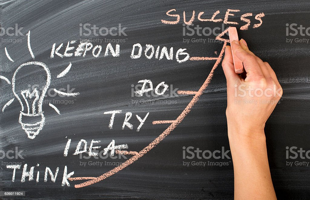 Businesswoman drawing success concept stock photo