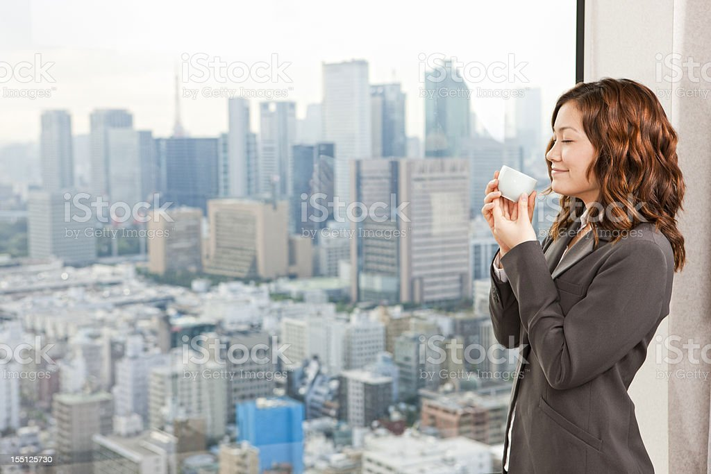 Businesswoman Drinking Tea royalty-free stock photo