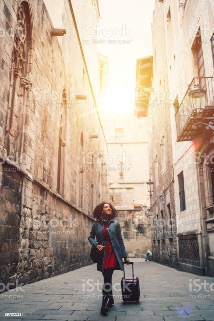 Businesswoman enjoying the beauty of Barcelona stock photo