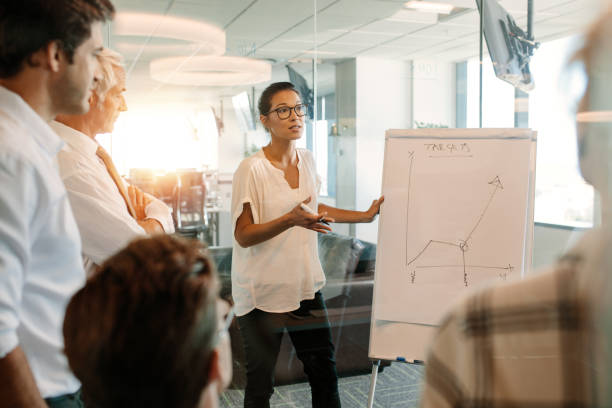 Businesswoman explaining graph to colleagues in office Businesswoman explaining graph to colleagues in office. Office worker giving a presentation on a flip board. flipchart stock pictures, royalty-free photos & images
