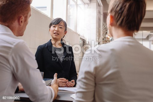 istock Businesswoman explaining new business ideas to colleagues. 621584960