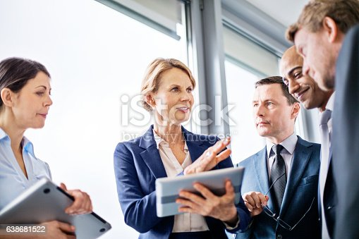 Mature businesswoman explaining new business ideas to colleagues during a standing meeting in office