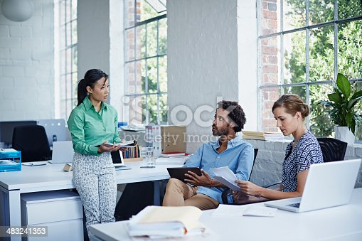 557608497istockphoto Businesswoman explaining new project 483241353