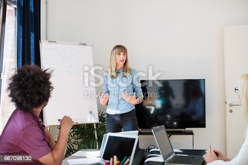 1150572092istockphoto Businesswoman explaining strategy to colleagues 667098130