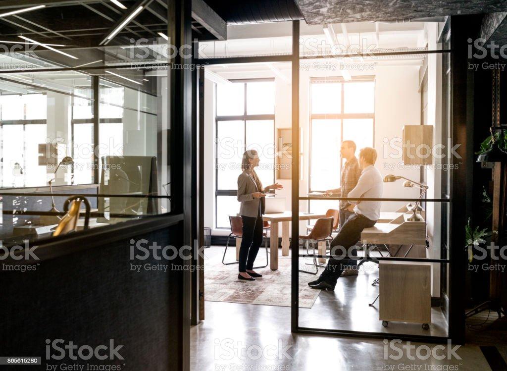 Geschäftsfrau, die erklärte Strategie für Führungskräfte – Foto