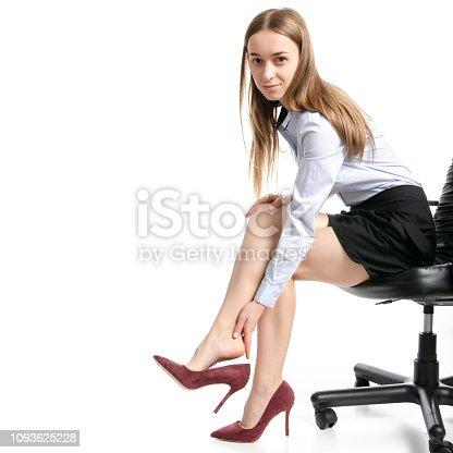 istock businesswoman feel foot heel pain high heel shoes 1093625228